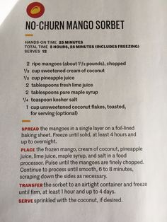 No churn mango sorbet (from Real Simple)