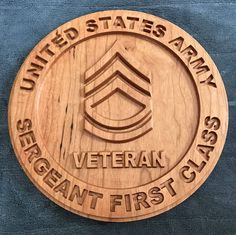 United States Army Veteran NCO plaque - All ranks - Cherry Wood Router Projects, Wood Projects, Forte Apache, Military Signs, Military Crafts, Laser Cutter Ideas, Cnc Woodworking, Woodworking Projects, Wooden Flag