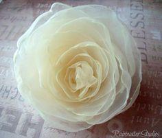Wedding Hair Flower Vanilla Ivory Organza by RainwaterStudios, $12.00