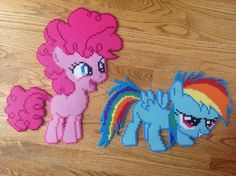 MLP Pinkie Pie and Rainbow Dash perler beads by OddishPonyGirl