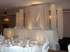 Easy back drop for head table at the wedding reception. Lights and tulle