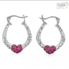Sterling Silver White & Rose Hoops Made with Swarovski Elements - $19.00