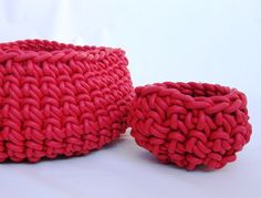 Red Crochet Bowl (md)  Crocheted Rubber! Our new collection of handmade crocheted neoprene objects will make you rethink the word creativity. It's an elegant contrast of traditional methods with an unexpected material .Strong and durable, they sure are beautiful, sculptural and functional too!