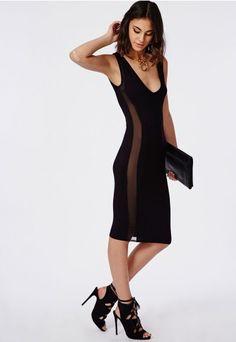 Jersey Mesh Detail Midi Dress Black - Dresses - Missguided