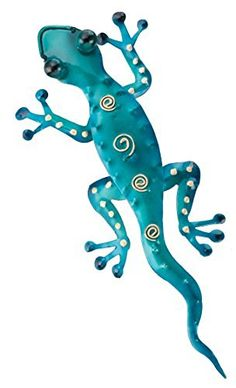 "Tropical Rainforest 11"" Blue Gecko Lizard Metal Wall Art Decor…"