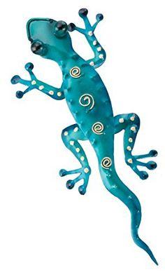 """Tropical Rainforest 11"""" Blue Gecko Lizard Metal Wall Art Decor…"""