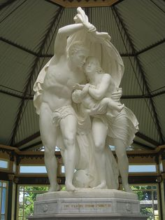 Victorian Marble Statue of The Flight from Pompeii, one of my favorite