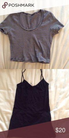 AA bundle AA striped crop top and black tank slip (can be worn as mini dress or top) American Apparel Tops