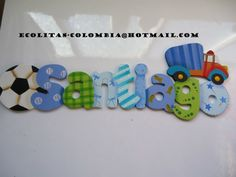 santiago nombre - Buscar con Google Wooden Letters For Nursery, Painting Wooden Letters, Painted Letters, Decoupage, Arte Country, Country Paintings, Name Art, Foam Crafts, Craft Business