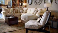 Bring relaxing vintage casual home with this beautiful sectional sofa and matching chair set. #livingroom #interiordesign