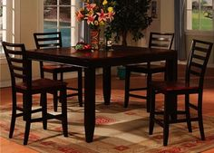 This elegant two tone 5 piece dining set seeks to bring a classy look to your #dining room. Butterfly leaf #table, for large families or when you have extra guests visiting! #ffohome