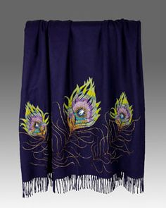 H83GH Jay Strongwater Peacock Feather Throw