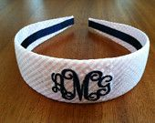 Custom Monogrammed Seersucker Headband --available in several seersucker, gingham, and sold colors. Greek letters can also be monogrammed!