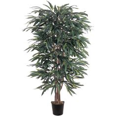 Nearly Natural Silk Weeping Ficus Tree in Pot & Reviews | Wayfair
