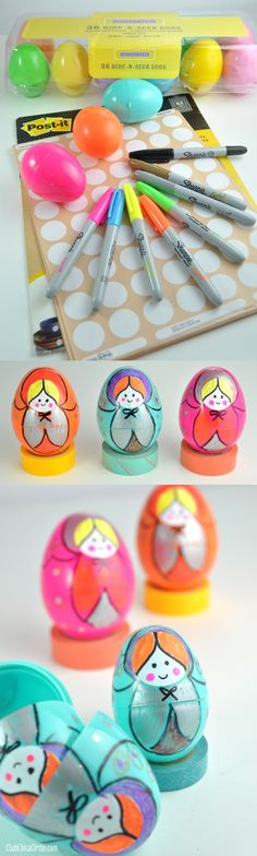 Make Russian Nesting Dolls out of Plastic Easter Eggs and Office Supplies... www.clubchicacircle.com