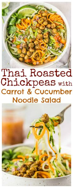 Thai Roasted Chickpeas with Cucumber & Carrot Noodles and Sweet & Sour Dressing Salad