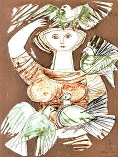 Lisa Larson (1931-) Ceramics With pigeons, 1959