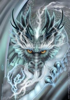Storm Dragon by Ravynne Phelan Japanese Dragon, Chinese Dragon, Mythical Creatures Art, Fantasy Creatures, Cool Dragons, Beautiful Dragon, Dragon Artwork, Dragon Tattoo Designs, Dragon Tattoos