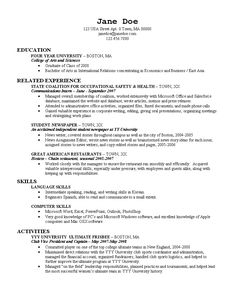 Sample Resume College Graduate Alluring Resumeexample9  Resume Cv Design  Pinterest  Resume Examples