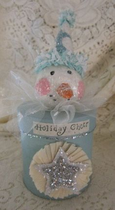 Snowman Decoration Holiday Box Aqua and Creme by Shellyrollins, $27.00