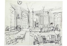 Interior sketch of the master bedroom for Mr. and Mrs. William Paley, Jr. Signed and dated '87. Pen and pencil on paper.