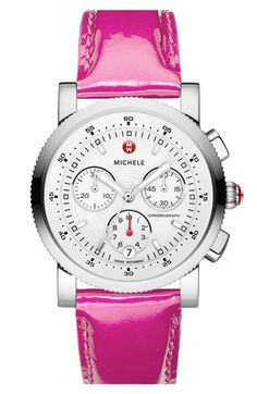MICHELE 'Sport Sail' Watch Case & 20mm Hot Pink Patent Leather Strap available at #Nordstrom