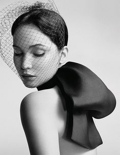 jennifer lawrence for dior . This would make a gorgeous exaggerated bridal look#veil #bow #gorgeous