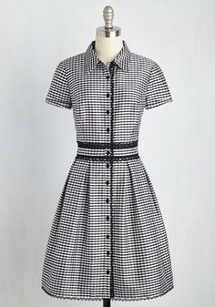 Live Long and Proper Dress. Donning this gingham shirt dress by Adrianna Papell will inspire you to pursue an eternally stylish lifestyle! #black #modcloth