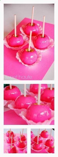 Neon Pink Candy Apples Tutorial- SWEET HAUTE Fantastic idea forValentines Birthday parties Carnival theme baby showers back to schoolteacher gifts bridal showers bacherlorette breast cancer awarenesscheerleading play dates and sorority sister ideas!! Pin