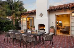 Outdoor Spaces with Charming Dining Areas-Dering Hall is the online marketplace to discover unique home furnishings products from elite brands, organize them by project, and connect with top design professionals. Spanish Colonial Homes, Spanish Style Homes, Spanish House, Hacienda Homes, Hacienda Style, Outdoor Rooms, Outdoor Living, Outdoor Seating, Spanish Courtyard