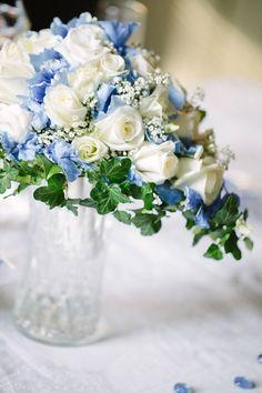 #weddingbouquet #blue #white Photo by Petra Veikkola Photography   www.petraveikkola.com