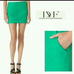 DIANE VON FURSTENBERG suede green skirt Stunning DVF Jay green suede skirt with pocket and zip back.  Fully lined interior. Beautiful condition. This skirt needs to be dry cleaned (see spot shown in last photo).  Size 8, fits like medium. 6/8  No trades please  Offers welcome through offer feature only  No LOWBALLS please Diane von Furstenberg Skirts Mini