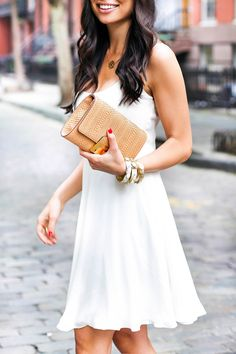 White dress and tan