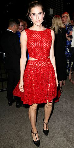 Met Gala 2015 Afterparty Dresses : ALLISON WILLIAMS Her Gala Gown: Full-skirted Giambattista Valli Haute Couture. Her Afterparty Outfit: An equally red sheer party dress with a laser-cut print and cutout sides, plus T-strap heels.