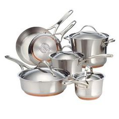 """Prepare for alfresco dinner parties and cook farm-fresh family meals with this essential stainless steel copper cookware set, including 2 domed saucepans, a stock pot with a complementary lid, a covered sautee pan, and a French skillet.    Product:  (1) 8"""" French skillet (1) 10.5"""" French skillet (1) 1.25 Quart Saucepan  (1) 2.5 Quart saucepan  (1) 3 Quart Saute pan  (1) 6.5 Quart Casserole  (4) Lids Construction Material: Stainless steel and copper Color: Silver Features:Oven ..."""