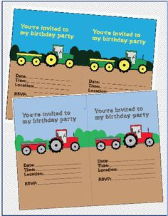 INSTANT DOWNLOAD Tractor fillable birthday by JMWxDigitalDesigns