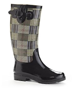 Look at this Black Plaid British Rain Boot on #zulily today!