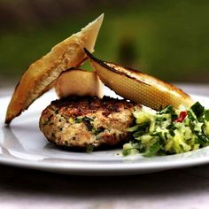 Turkey burger with cucumber salad