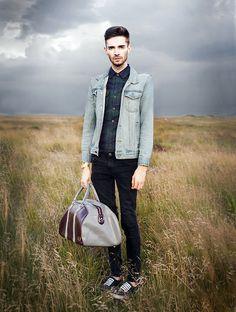 New Look Tartan Shirt, Topman Denim Jacket, Topman Black Skinny Jeans, Black Vans, Fred Perry Blue/Maroon Weekend Bag