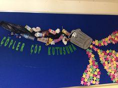 Çöpler çöp kutusuna Preschool Projects, Activities For Kids, Fall Crafts For Kids, Art For Kids, School Exhibition, Classroom Bulletin Boards, Paper Crafts, Diy And Crafts, Art Education