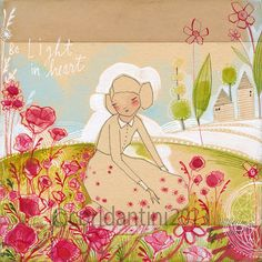 watercolor of girl in a field of poppies -  8 x 8 inch limited edition archival...  by cori dantini