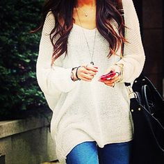 Oversized sweaters are a must
