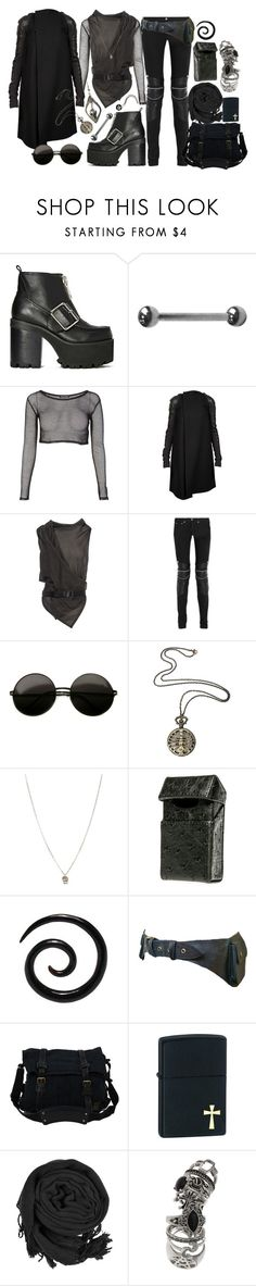 """Senza titolo #90"" by imnotperky ❤ liked on Polyvore featuring Jeffrey Campbell, Rick Owens, Ann Demeulemeester, Yves Saint Laurent, Hot Topic, Orelia, Black Scale, Belstaff, Zippo and Topshop"
