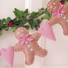 felt gingerbread man garland by cherish | notonthehighstreet.com