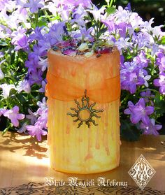 Pretty Little Litha Alchemy Candle 2x3 . Summer Solstice . Lemon, Madagascar Vanilla, Sweet Cream on Etsy, $13.95