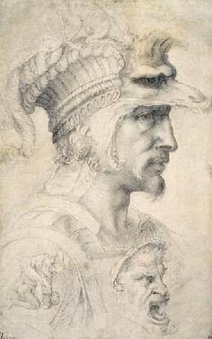 Study of a warrior's head (ideal).Michelangelo