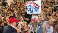 MOBILE, AL- AUGUST 21: Republican presidential candidate Donald Drumpf greets supporters after his rally at Ladd-Peebles Stadium on August 21, 2015 in Mobile, Alabama. The Drumpf campaign moved tonight's rally to a larger stadium to accommodate demand.