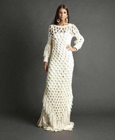 b618c40b5 Fringe Dress Long Asymmetrically Boho Crochet Fringe Flapper