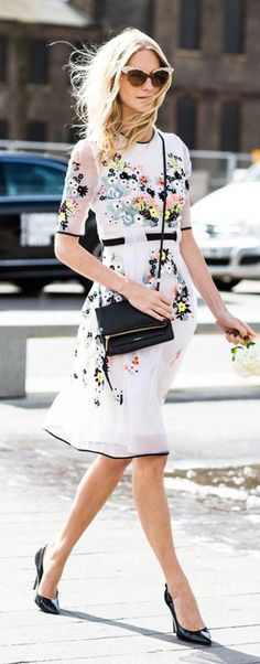 Black details make this floral dress look less dowdy