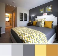 30 yellow and gray bedroom ideas that chic ideas for yellow bedroom decor yellow kids rooms how to use yellow bedroom ideas the 15 cheery yellow bedroomsYellow And Gray Bedding That Will. Yellow Gray Bedroom, Grey Room, Bedroom Colors, Gray Yellow, Yellow Chevron, Grey Bedroom With Pop Of Color, Colour Combination For Bedroom, Yellow Walls, Grey Yellow Bedrooms